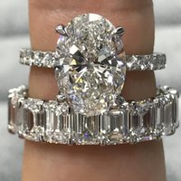 Wholesale great wedding gifts for couples for sale - Group buy Stunning Luxury Jewelry Real Sterling Silver Couple Rings Emerald Cut White Topaz CZ Diamond Women Wedding Band Ring for Lovers Gift