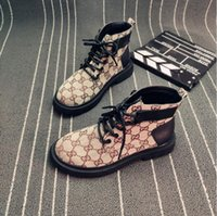 Wholesale british style flat shoe women resale online - Martin boots female autumn British style literary retro high top thick soled printing women s shoes with wild locomotive short ankle boots