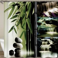 ingrosso decorazione domestica zen-Tende da doccia Zen Tenda bagno Home Decor Verde Giallo Zen Giardino Tema Tenda impermeabile in bambù