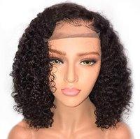 mejores pelucas de encaje vendidas al por mayor-Mejor la venta de la peluca delantera del pelo Europa África peluca de pelo rizado resistente Encaje Negro sintética para mujeres de alto grado Rose interior pelucas de la red