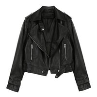 yeni kadın pu deri ince toptan satış-Yeni Sonbahar Faux Süet Bayan Motosiklet Ceket Faux Deri Ceket Kadın Biker İnce Beyaz PU Ceket