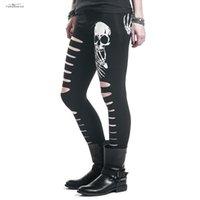 drop ship leggings impressos venda por atacado-Calças Mulheres Leggings de alta qualidade Moda Crânio New Impresso oco Mulher Buraco Qualidade Drop Shipping