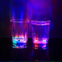 Wholesale shot glasses free shipping resale online - Colorful Led Cup Flashing Shot Led Plastic Luminous Neon Cup Birthday Party Night Bar Wedding Beverage Wine Flash Small Mug