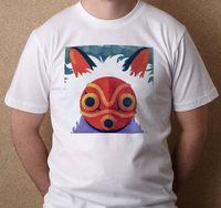 estudios rojos al por mayor-Studio Ghibli Princess Mononoke Máscara roja inspirada Nueva camiseta blanca de las camisetas S-3XL Camiseta de alta calidad clásica Camisetas camiseta de encargo de Jersey