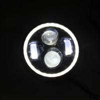 feixes de projetor venda por atacado-Lâmpada da cabeça do projetor do farol do diodo emissor de luz do preto 10W da motocicleta olá! / Interruptor inversor do Bobber do feixe de Lo