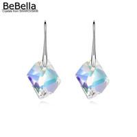 Wholesale swarovski wedding gift resale online - Bebella Rhombic Crystal Drop Earrings Pendant Dangler With Crystals From Swarovski Elements Fashion Women Girl Jewelry Gift J190630