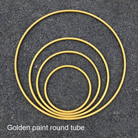 Wholesale decoration circle mirrors resale online - Customized wedding props ring wrought iron frame single pole ring curtain circle hollow round wedding stage decoration stand