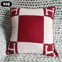 almohadas de tiro de punto al por mayor-AAG H letra Throw Pillow Case Cojín decorativo almohada para manual de punto a cuadros Europa cubierta para sofá 45x45cm 65x65cm