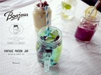zakka papier groihandel-Großhandel Weckglas Glasschalen mit 2 Stück Deckel für Kaltes Getränk Papier Straw Mason Cup Zakka 500ml Trinkbecher W95995