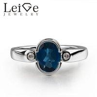 anillo de ajuste de bisel ovalado al por mayor-925 Londres topacio azul Anillo de la piedra preciosa del corte del óvalo azul Bisel Marco anillos de la promesa para mujeres Los regalos románticos