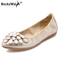 zapatos plegables mujeres al por mayor-Pisos planos de la manera plegable princesa de ballet Zapatos WSH2526 de las mujeres del Rhinestone 2020 El nuevo cristal del barco Zapatos de mujer