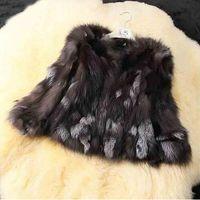 piel de zorro plateado real al por mayor-Abrigo de piel de zorro de plata real genuina natural para mujer invierno cálido TFP316