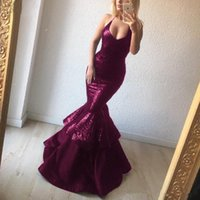 ingrosso donne di fascino sexy-Borgogna Paillettes Mermaid Prom Dress Hot Sexy Long Abiti da sera Charming Buxom Women Custom Made Celebrity Gowns