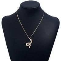 kleine kugelhalskette groihandel-Hochzeitsaccessoires Luxus Schmuck Halskette Kette Metallic Edelstein Trendy Kleine Schlange Halskette Anhänger Halskette - neuer Anhänger