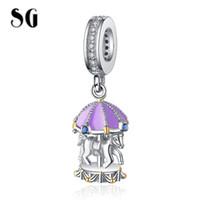 cuentas hechas cuerno al por mayor-SG HOT New 100% 925 Sterling Silver Cute purple Carousel Beads Merry-Go-Round Charm Fit pulsera europea para las mujeres regalo
