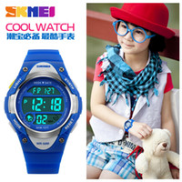 kind digitale wasserdichte uhr groihandel-SKMEI Outdoor Sports Kinderuhren Boy Alarm Digitaluhr Kinder Stoppuhr Wasserdicht Mädchen Armbanduhren montre enfant 1077