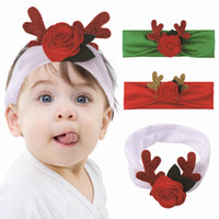 Wholesale kids hair silk band resale online - Cute Baby Christmas Headbands Flower Elk Elastic Hair Band For Kids Winter Autumn Outdoor Casual Hair Accessories Party Gift