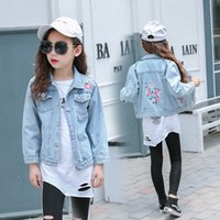 Wholesale baby jeans embroidery resale online - Spring Jeans Jacket Girls Butterfly Embroidery Tops Cotton Casual Kids Baby Girl Coat Children Kids Denim Jackets Yrs