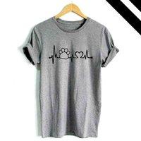 Wholesale dog clothes s m resale online - Summer T Shirt Loose Dogs Prints Short Cat Tops Tea Female O Neck Cap Sleeve Ladies Casual Plus Size Clothing