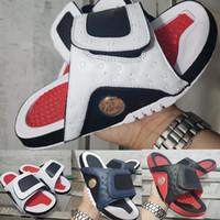 розовые черные сандалии оптовых-13 дизайнерские сандалии мужские роскошные туфли 13s слайды летняя мода плоские толстые сандалии белый красный черный зеленый пляж тапочки флип-флоп EUR 40-45