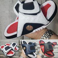sandales roses noires achat en gros de-13 sandales de designer mens luxe chaussures 13s diapositives mode estivale plat sandales épaisses blanc rouge noir vert Beach Slipper Flip Flop EUR 40-45