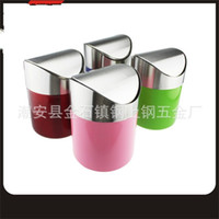 Wholesale sell desktop for sale - Group buy Stainless Steel Desktop Waste Bins Mini Vehicle Flipping Lovely Trashes Hot Selling With Red Blew Green Color gs J1