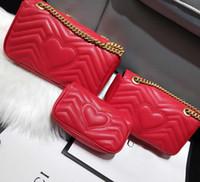 Wholesale satchel online - High Quality Fashion Love Heart V Wave Pattern Satchel Designer Shoulder Bag Chain Handbag Crossbody Purse Lady Shopping Tote bags