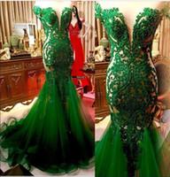 verde esmeralda longa prom vestidos venda por atacado-Esmeralda verde do laço da sereia Vestidos Sheer mangas Tulle Applique frisada Ruched longas formal Vestidos Prom Party 2020