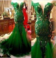 ingrosso vestito increspato verde smeraldo-Verde smeraldo Pizzo Abiti da sera della sirena Sheer Cap maniche in tulle di Applique increspato in rilievo convenzionale lungo da partito degli abiti di promenade 2020