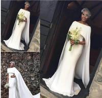 kuyruk tarzı elbiseler toptan satış-Basit Fildişi Mermaid Gelinlik Uzun Kuyruk 2019 Zarif Pelerin Stil Gelinlikler Afrika Ucuz Gelin Elbise Custom Made Kadınlar Örgün giymek