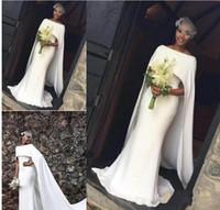 cauda de vestido de noiva venda por atacado-Simples Marfim Sereia Vestidos De Noiva Cauda Longa 2019 Elegante Cape Style Vestidos De Noiva Africano Barato Vestido De Noiva Custom Made Mulheres Formal Wear