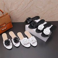 Wholesale black booties for women for sale - Latest floral Slippers Women Flip Flops with Camellia Leather Soft Sandals Camellia Jelly Shoes for Ladies Beach Shoes Size
