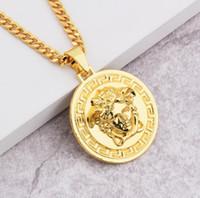 18 k altın kolye zinciri erkek toptan satış-Marka Medusa Circluar Erkekler Tasarımcı Zincirleri Kolye 18 K Altın Kaplama Hip Hop Moda Kolye Kolye Kaya Hediye Damla Nakliye