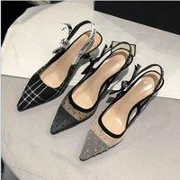 chat talons hauts achat en gros de-Nouveau chat et sandales Baotou design chaussures femme polka maillés partie dot chaussures unique design de luxe bow fronde chaussures à talons hauts