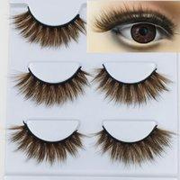 olho castanho cílios venda por atacado-NOVO 3D Mink Cor cílios postiços marrom longa transversal Natural cílios falsos Stage Show maquiagem grossas Eye Lashes