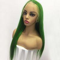 bakire brezilya gerçek insan saçı toptan satış-Yeşil 100 Gerçek İnsan Saç Siyah Kadınlar Için Tam Dantel Peruk Düz Brezilyalı Bakire Saç Dantel Ön Peruk Ön Koparıp Doğal Saç Çizgisi