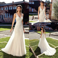 Wholesale sexy black wedding dresses online - 2019 V Neck Lace A Line Wedding Dresses Tulle Lace Applique Backless Sweep Train Wedding Bridal Gowns With Buttons EK