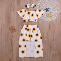 Wholesale baby clothing sets 3pc for sale - Group buy Baby Girl clothes Round Neck sleeveless T Shirt Skirt pc cute cotton Flower with skirt outfit set kids luxury designer clothes girls dresse