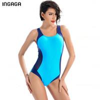 einteiliger badeanzug sport großhandel-Ingaga Badeanzug Sportbadebekleidung Damen 2019 Badeanzüge Wettbewerb Badeanzüge Patchwork Bodys Y19052002