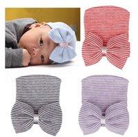 ingrosso berretto da neonati-10 * 9CM Archi cappelli delle neonate Neonati banda di lavoro a maglia cappelli della principessa Infant cotone morbido Beanie bambini fascia cappello adatto 0-3 M F5475
