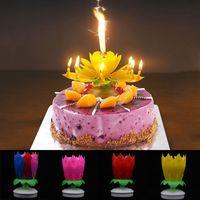 ingrosso torta della candela del loto-1PC nuova vendita calda novità candela torta topper compleanno fiore di loto decorazione rotante doppio strato