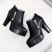 Wholesale elegant platform boots for sale - Group buy Ariari Elegant High Heel Ankle Boots For Women Ladies Genuine Leather Short Boots Platform Snow Fashion Sexy Lady Shoes