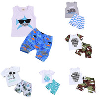 Wholesale baby boy shark for sale - Group buy kids designer clothes boys outfits children shark dolphin print top Camouflage shorts set Summer Boutique baby Clothing Sets C6527