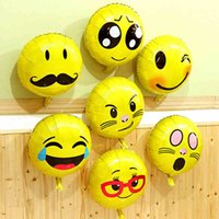 Wholesale balloon for boys toy online - 18inch Round Big Cute Emoji Balloon Foil Helium Balloons Classic Toys For Boy Girls Party Decor Christmas Gift