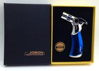ingrosso la torcia del butano del jobon-JOBON 4 Jet Flame torcia Butano Gas antivento Torcia metallo pistola a spruzzo Accendini ricaricabile metallo torcia di saldatura per fumare acqua bong con scatola
