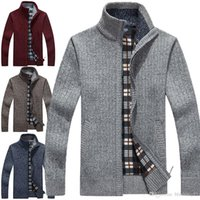 herren beige strickjacken großhandel-Neue Cardigan Herren Strickjacken Strickwaren Zipper Pullover Warm Fleece-Sweatshirt beiläufige Hoodies für Herbst-Winter
