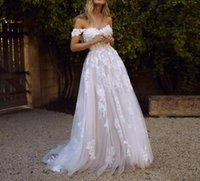 Wholesale low back off shoulder wedding dresses for sale - Group buy Vintage Country Style Off the Shoulder A line Wedding Dresses Lace Appliques Low Back Garden Tulle Bridal Gowns Sweep Train