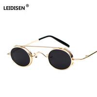 Wholesale clip glasses mirror for sale - Group buy LEIDISEN Steampunk Sunglasses Men Women Oval Clip On Brand Designer Sunglasses Metal Gothic NEW Glass Oculos Vintage