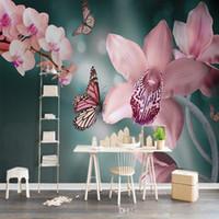 büyük 3d kelebekler toptan satış-Özel 3D Fotoğraf Kağıdı Sıcak Taze Modern 3D Pembe Kelebek Orkide Büyük Yatak Odası TV Arka Plan Duvar Duvar Arka Plan Duvar Kağıdı
