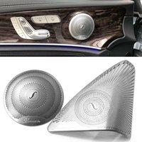 3d audio mp3 großhandel-Für Mercedes Benz Neue C-Klasse W205 2015-2017 Auto-Styling Edelstahl Autotür Audio Lautsprecher Dekorative Abdeckung Trim 3D Aufkleber